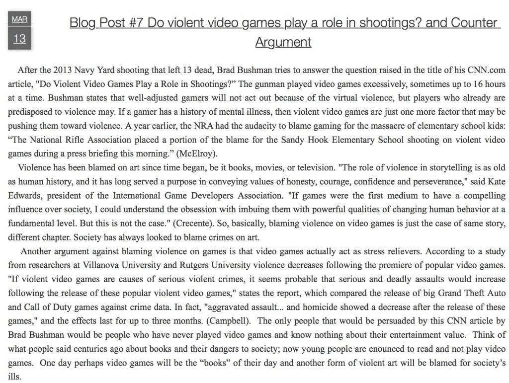 Blog post on violent video games and shootings