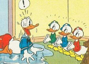 Final panel of 1937 Sunday newspaper strip Donald Duck that introduced Donald's nephews; drawn by Al Taliaferro